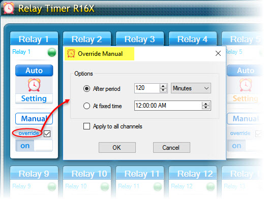 Relay Timer R16X - Override Manual