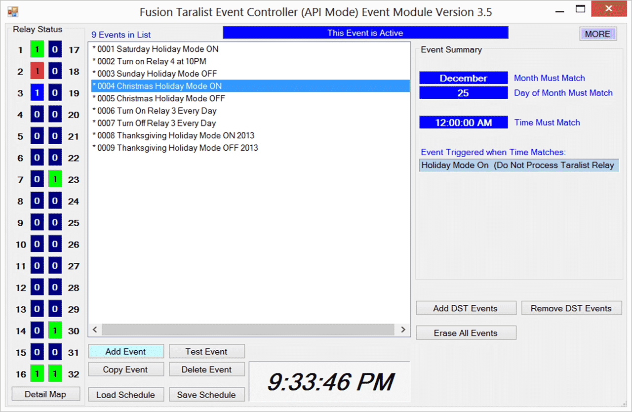 Fusion Taralist Quick Start Guide Relay Operating Time Be Triggered Only On December 25 At 1200 Am Since The Year And Day Of Week Are Not Shown Below Event Will Every
