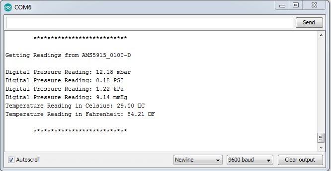 Differential Pressure Sensor Arduino AMS 5915-0100-D