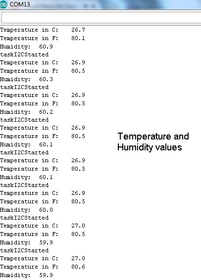 SHT31 Temperature and Humidity Values