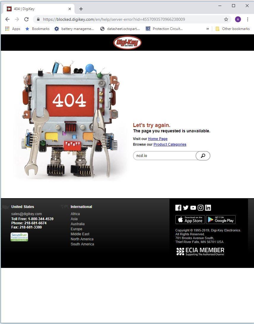 DigiKey Blocked 404 Google Chrome