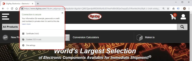 Google Chrome Open Lock for DigiKey.com fix 404 Error Adding to Shopping Cart