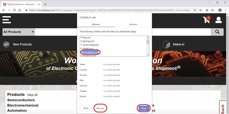 delete cookies digikey.com google chrome error adding to shopping cart