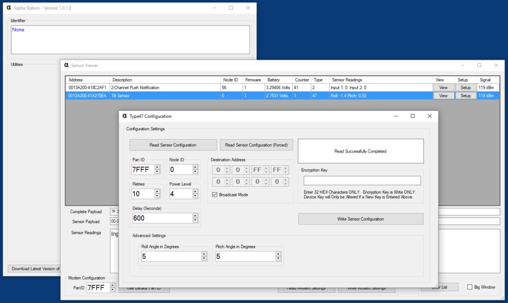 Wireless Tilt Sensor User Interface - Configuration Mode
