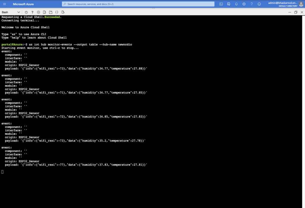 Azure Terminal Sensor Data