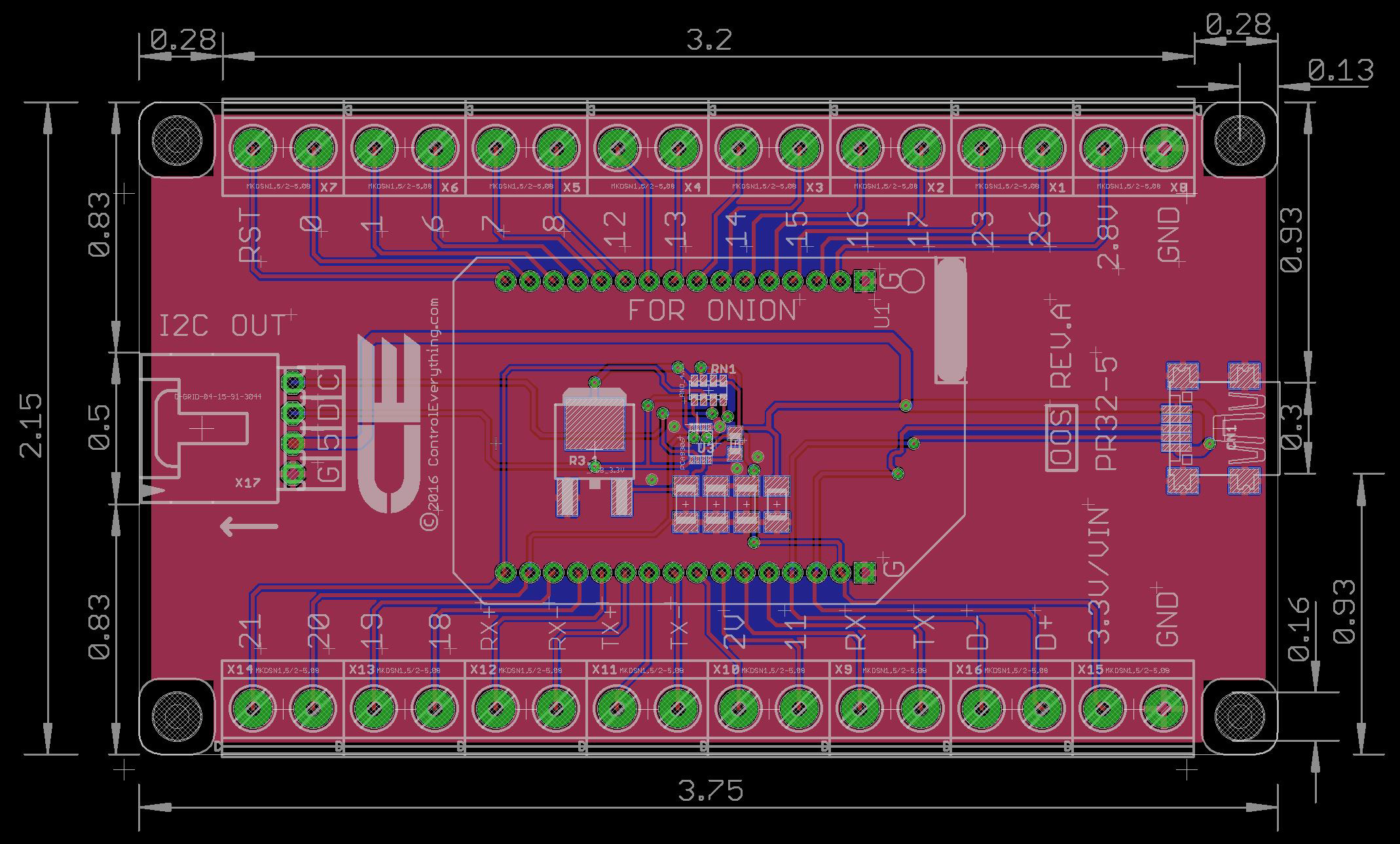 screw terminal breakout board with i2c and usb interface