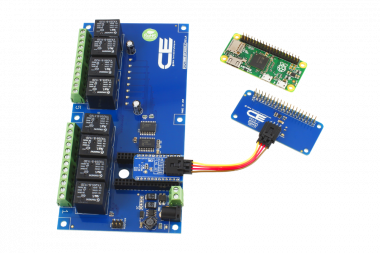 Raspberry Pi Zero Connected 8-Channel SPDT Relay Shield using SI Adapter