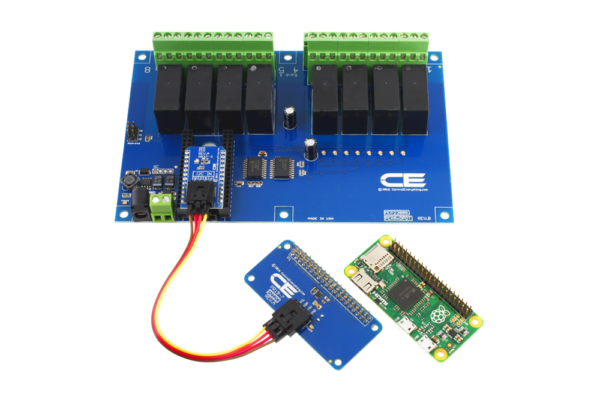 Raspberry Pi Zero Connected 8-Channel DPDT Relay Shield using SI Adapter