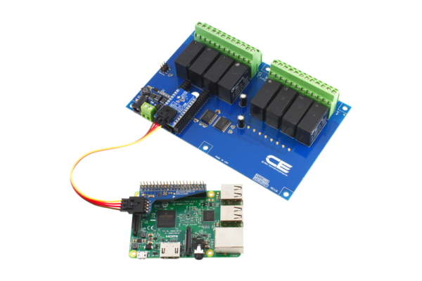 Raspberry Pi 2 Connected 8-Channel DPDT Relay Shield using SI Adapter
