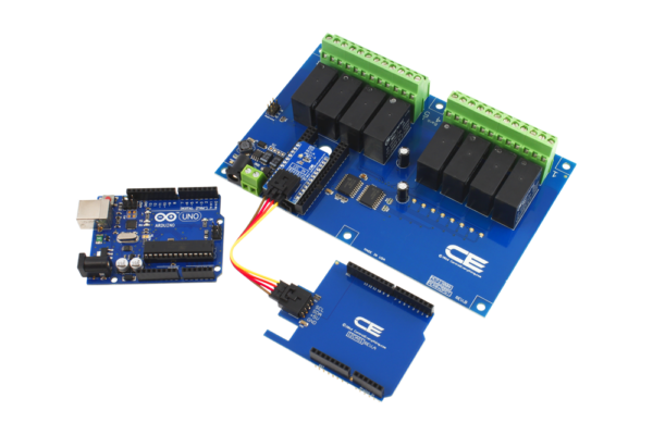 Arduino Uno Connected 8-Channel DPDT Relay Shield using SI Adapter