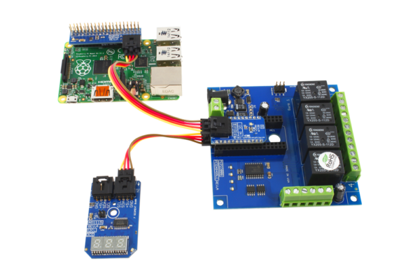 Raspberry Pi 3 4-Channel Relay Board and LED Display using I2C