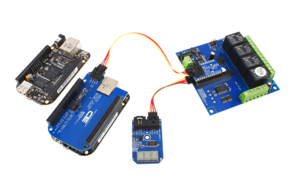 BeagleBoard 4-Channel Relay Board and LED Display using I2C