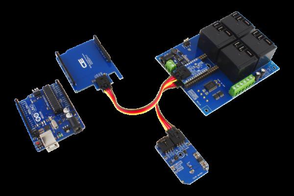 Arduino Uno I2C Relay Shield and Temperature Sensor