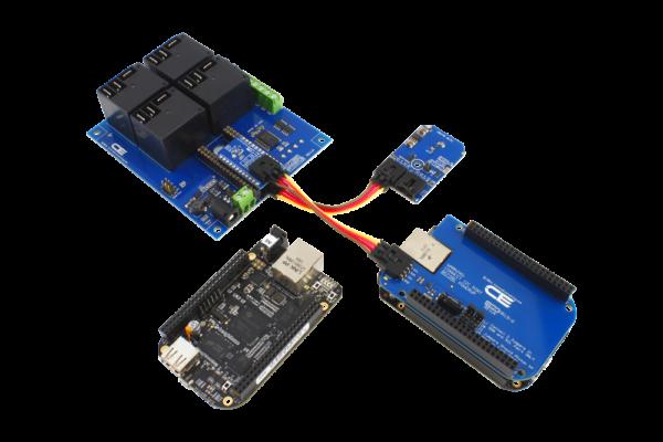 BeagleBoard Relay Shield and Temperature Sensor