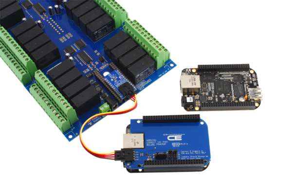 Beagle Bone Relay Shield Connected with I2C Expansion Port
