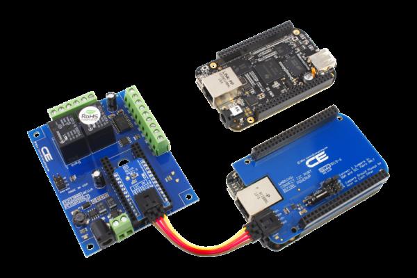 BeagleBone 2-Relay Shield with 6 GPIO using I2C Cables