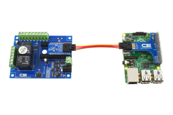 Raspberry Pi 3 I2C Shield connects a 2-Channel 10A Relay Board