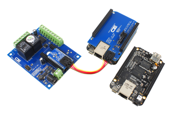 BeagleBone I2C Shield connects to our 2-Channel 10A Relay Board