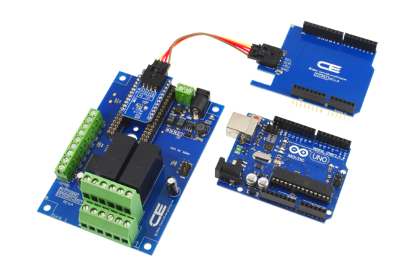 Arduino Uno I2C Shield connects to 2-Channel DPDT Board with GPIO