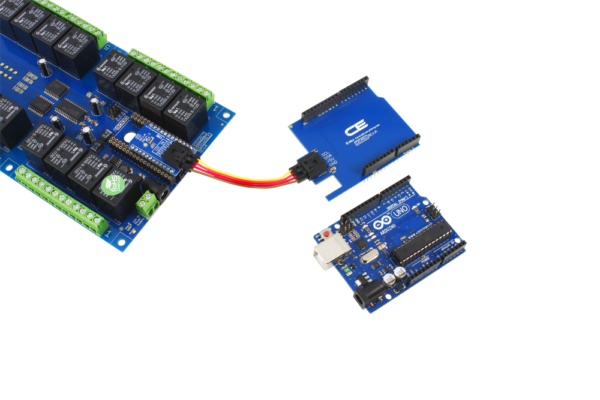 Arduino Uno Connected to a Relay Shield with the SI Adapter