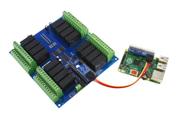 Raspberry Pi 3 Connected to a 16-Channel DPDT Relay Controller