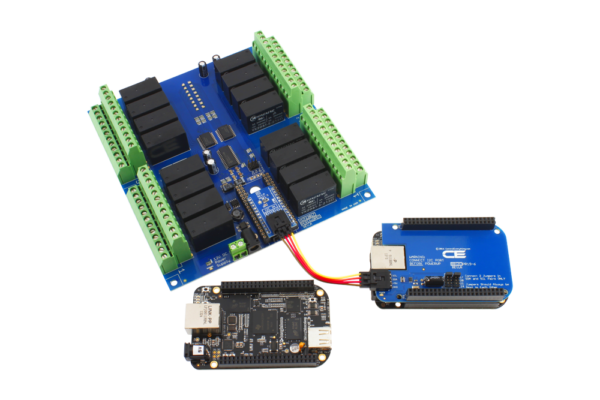 BeagleBone Connected to a 16-Channel DPDT Relay Board