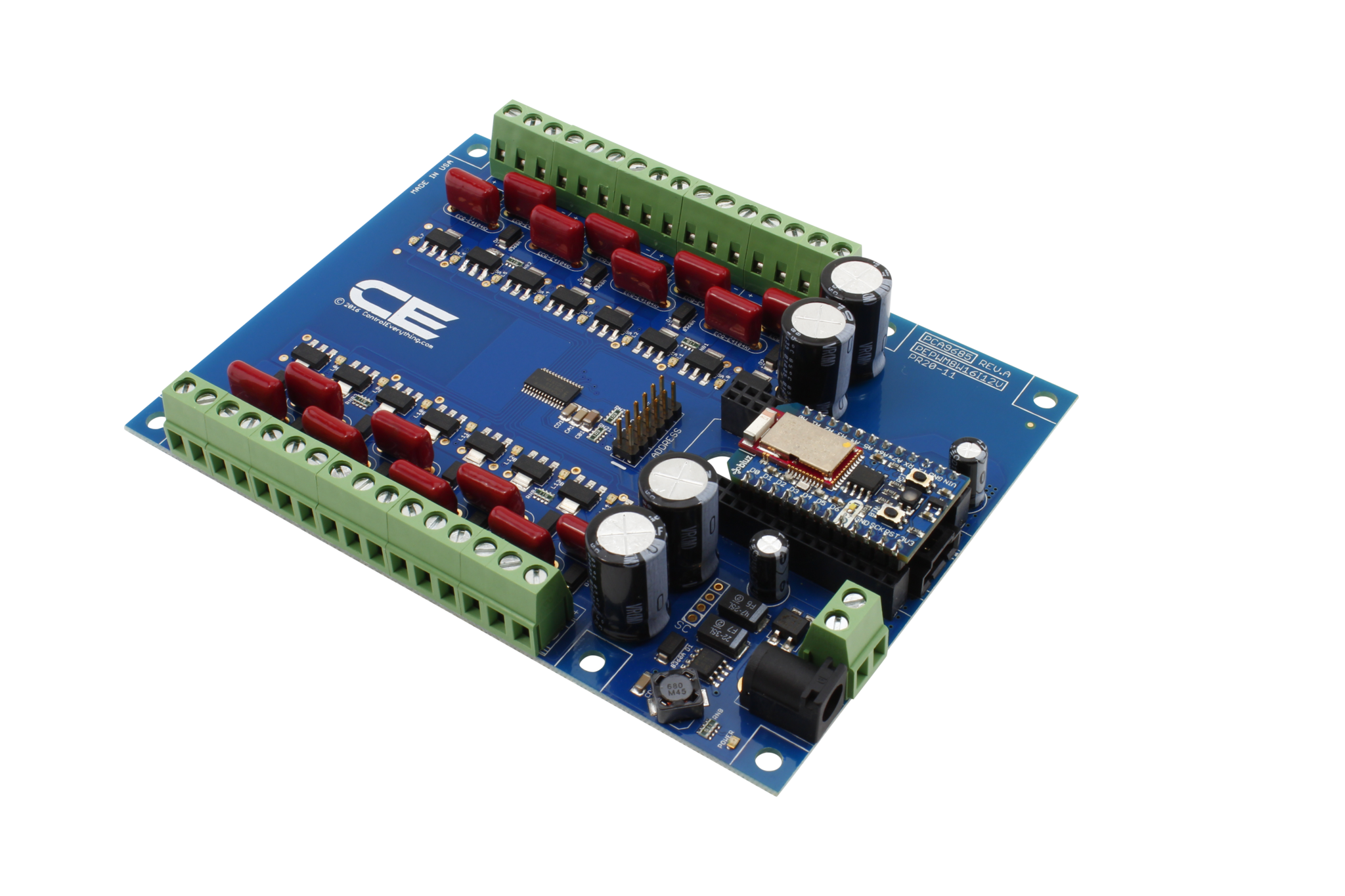 Pca9685 16 Channel 8w 12v Fet Driver Proportional Valve Controller 12 Volt Led Circuit I2c Shield For Particle Electron