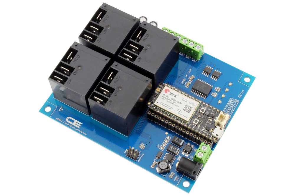 4-Channel High-Power Relay Controller Shield + 4 GPIO with IoT Interface