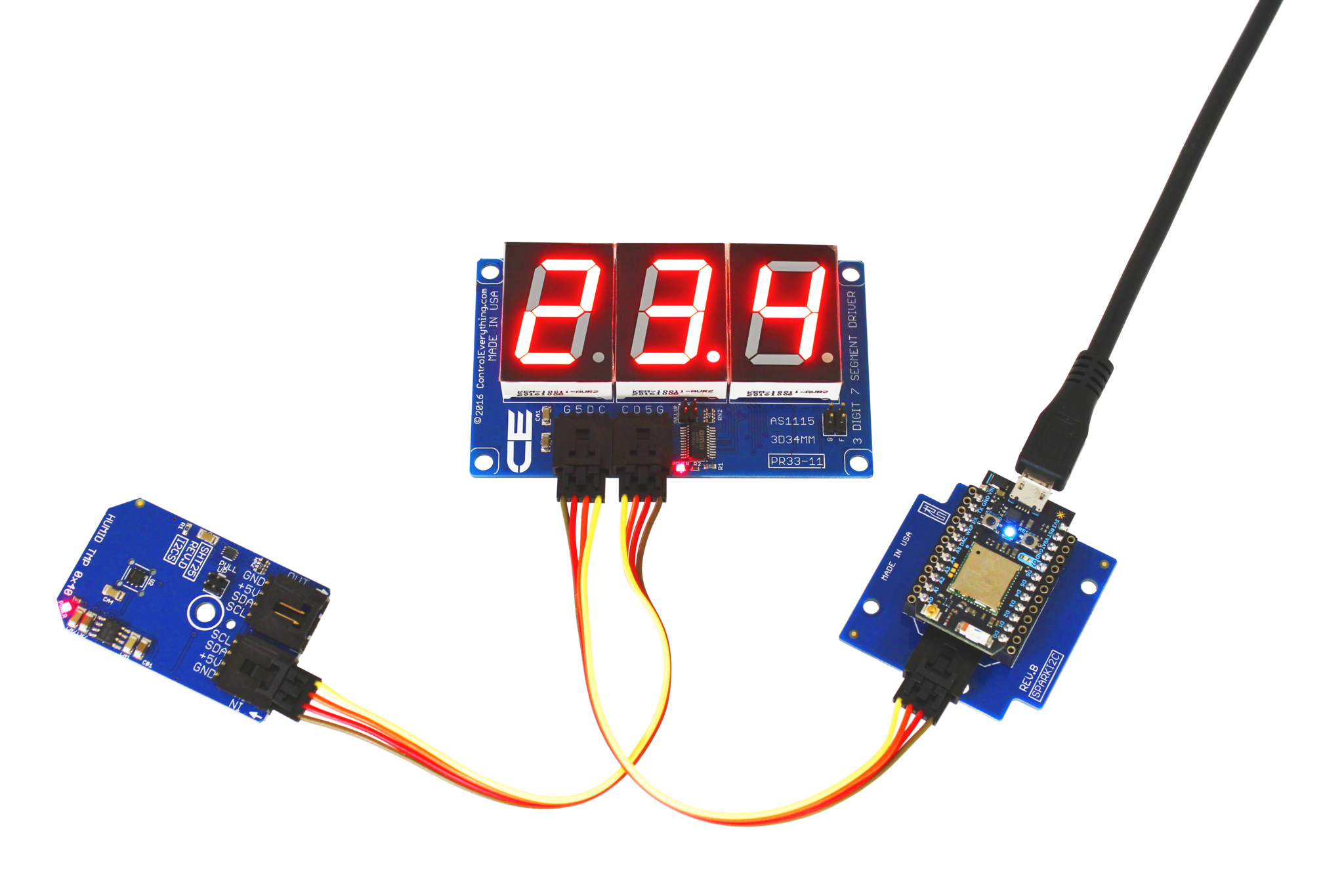 As1115 34mm 3 Character Red 7 Segment Hexidecimal Display With I2c Water Level Indicator Electronic Circuit That Uses A 7segment