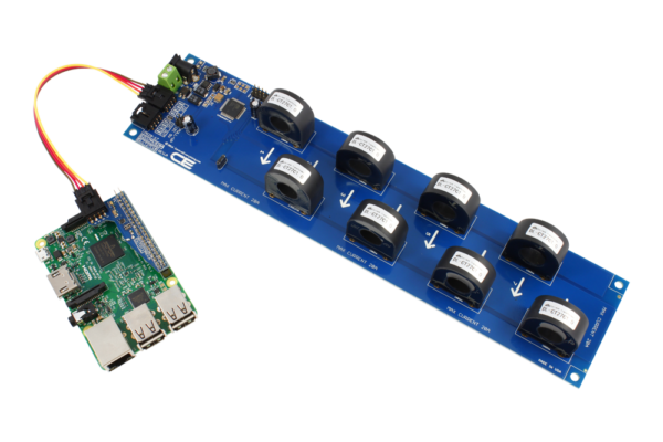 AC Current Monitoring for Raspberry Pi 3 8-Channel 10-Amp