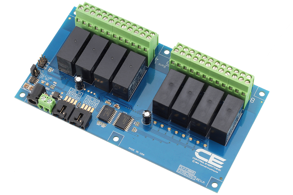 8-Channel DPDT Signal Relay Controller with I2C Interface - store.ncd.io