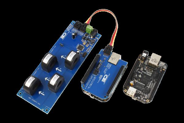 AC Current Monitoring for BeagleBone Black 4-Channel 30-Amp