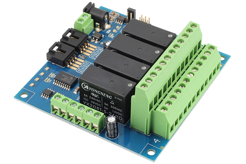 4-Channel DPDT Signal Relay Controller + 4 GPIO with I2C Interface -  store ncd io