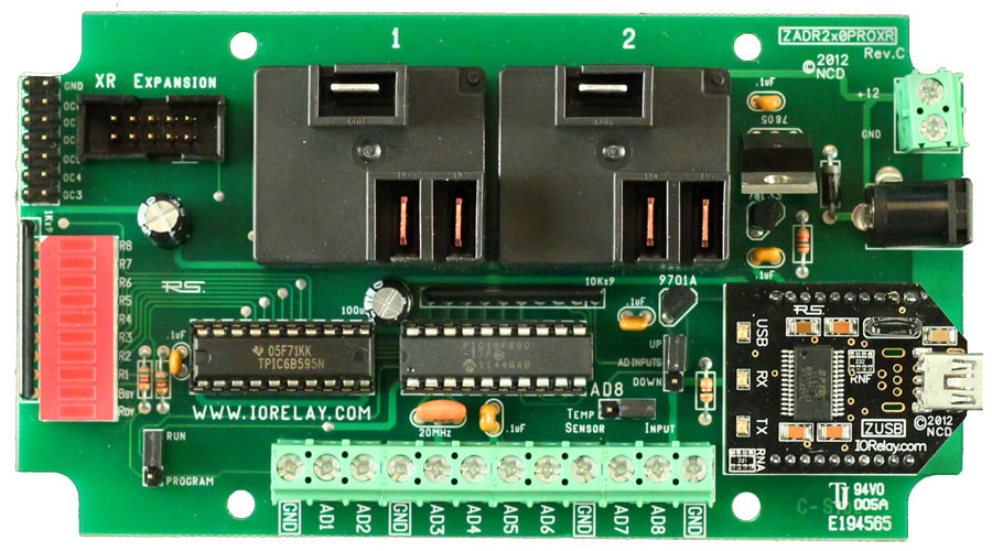 Industrial High-Power Relay Controller 2-Channel + 8-Channel ADC