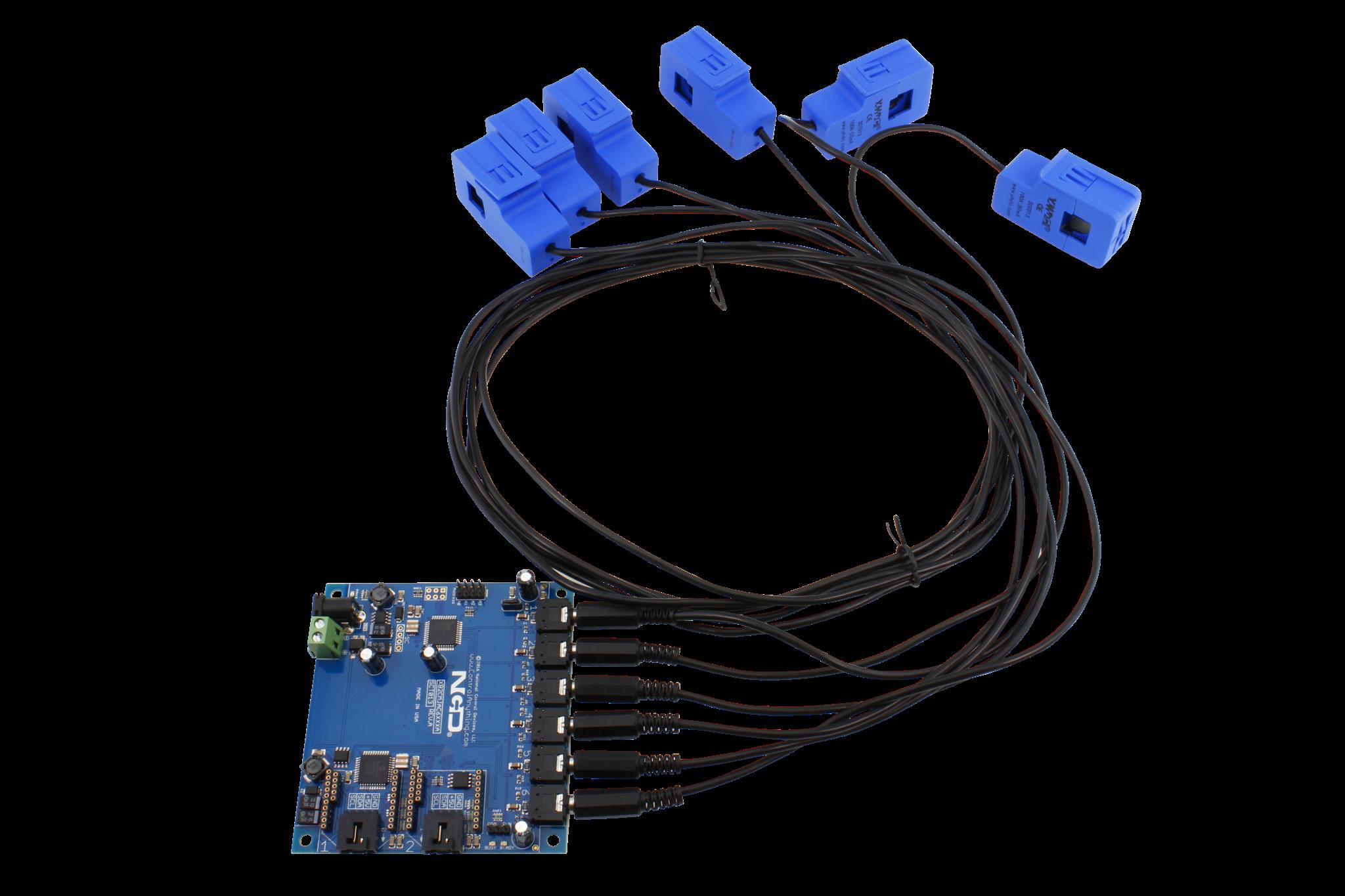 Industrial Current Sensor 6-Channel 10-100 Max Amps Pluggable Split ...