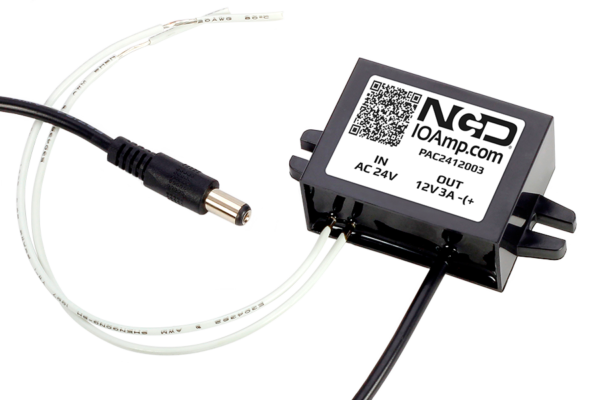 AC/DC Power Converter 24V AC Input to 12V DC Output at 3 Amps Wire to 2 1mm  Male