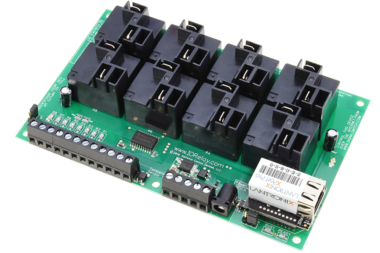 WebRelay Controller 8-Channel Ethernet High Current with 8-Channel Analog to Digital Converters