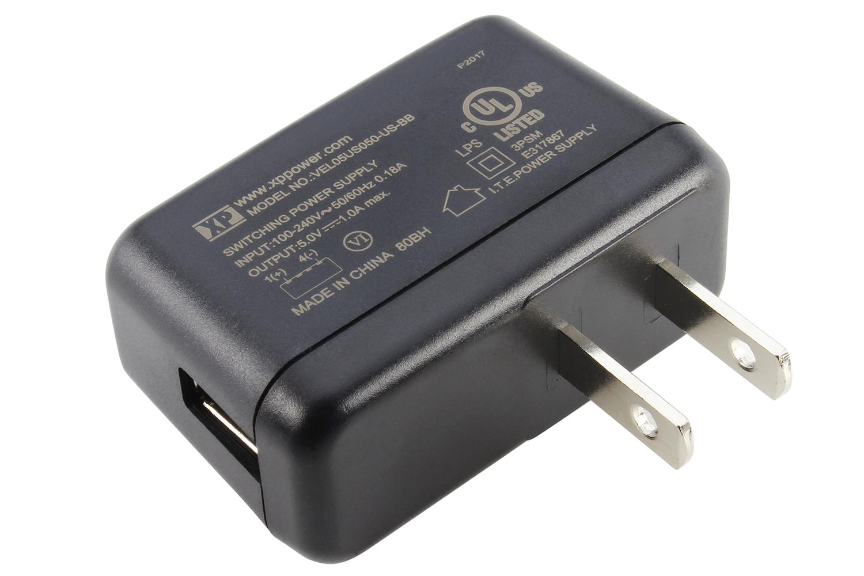 5V 5W AC/DC USB External Wall Mount Adapter - 90 ~ 264 VAC to 5V DC at 1A