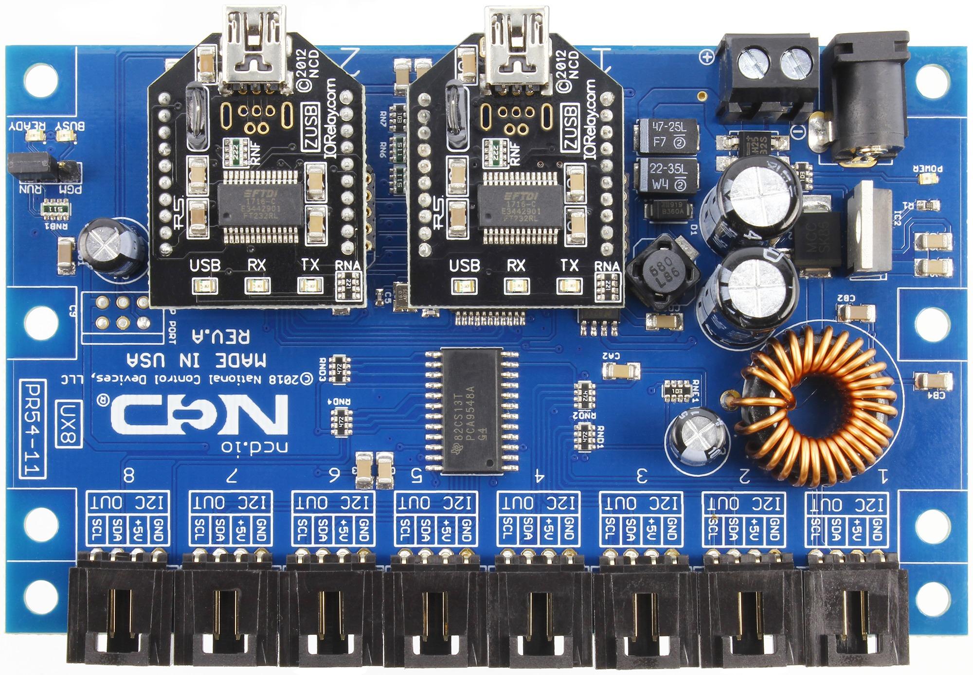 Dual USB to 8-Port Hardware I2C Converter endNode - store ncd io