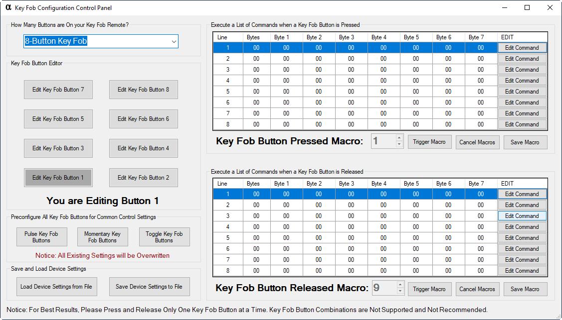 KeyFob Macro Configuration